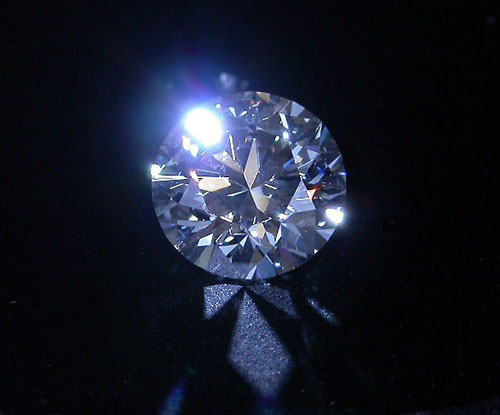Blue Fluorescent Round-Cut Diamond