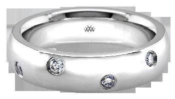 Platinum Scattered Diamond Wedding Band