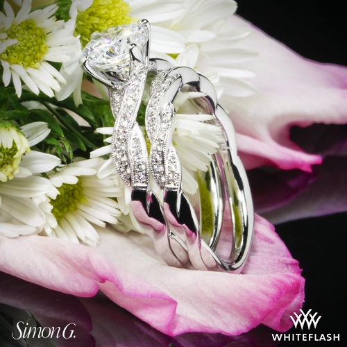 Simon G LP1498 Engagement Ring and Wedding band