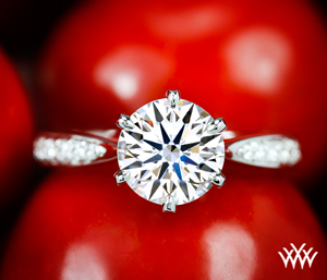 Sleek Line Pave Engagement Ring