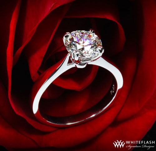 Sleek Line Solitaire Diamond Engagement Ring