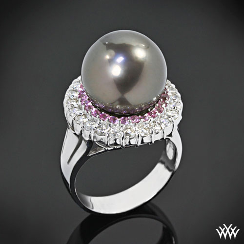 South Sea Pearl Diamond and Sapphire Ring