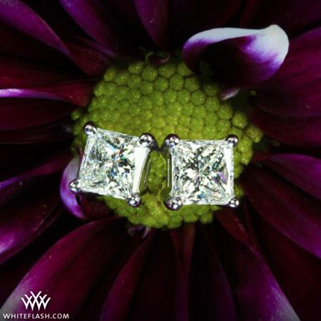 square cut diamond earrings