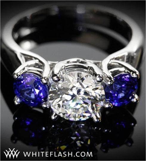 Three Stone Braid Diamond Engagement Ring