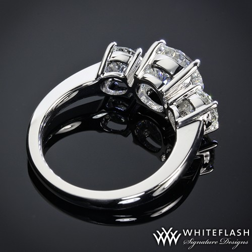Three Stone Diamodn Engagement Ring Side Profile