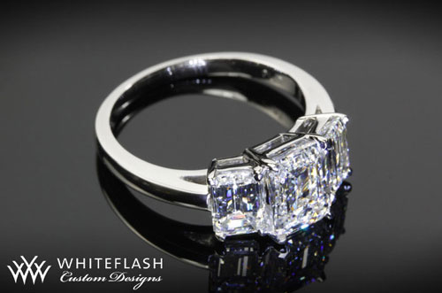 3 stone engagement ring, Mark Metts, custom ring design