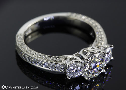 three stone engagement ring, clara ashley