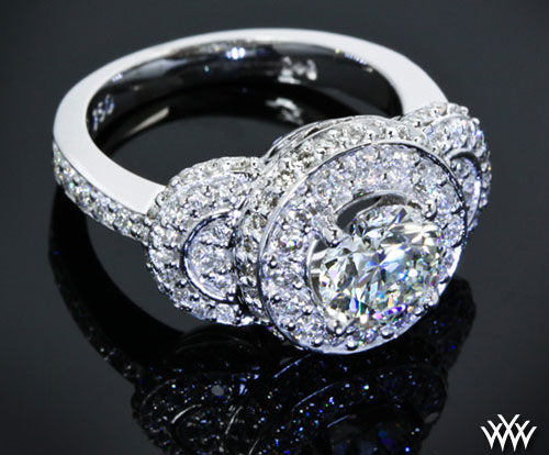 Three Stone Pave Halo Engagement Ring