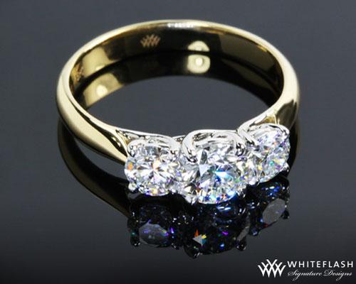 Three Stone Trellis Diamond Engagement Ring