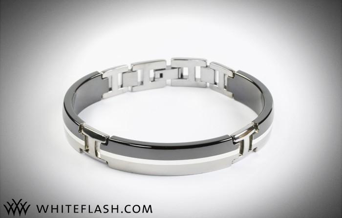 titanium tuxedo bracelet - mens jewelry