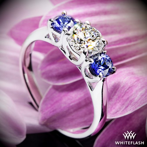 Trellis 3 Stone. Trellis 3 Stone Diamond and Sapphire Engagement Ring 3982ded366