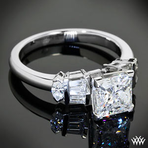 v prong princess cut maquise and bagguettes diamond engagement ring