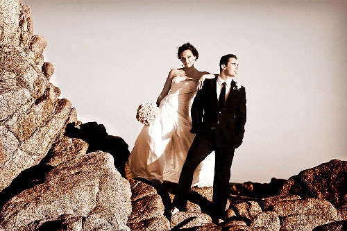 Wedding photo in sepia style