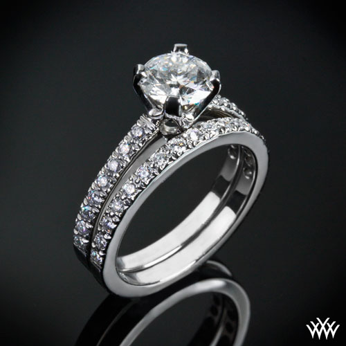 White Gold 5th Avenue Pave Diamond Engagement Ring Set