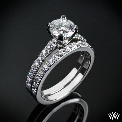 White Gold 5th Avenue Pave Diamond Engagement Ring Set