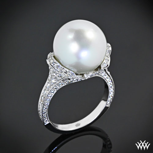 ring pearl halo engagement jewellery diamond rings with rose saltwater