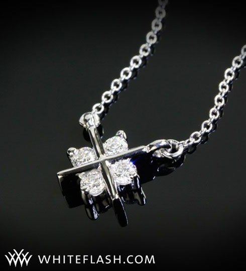 x-prong diamond pendant