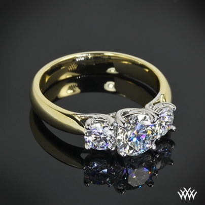 18k Yellow Gold 3 Stone Diamond Engagement Ring 10203