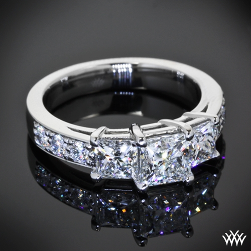 Custom 3 Stone Princess Diamond Engagement Ring 11603