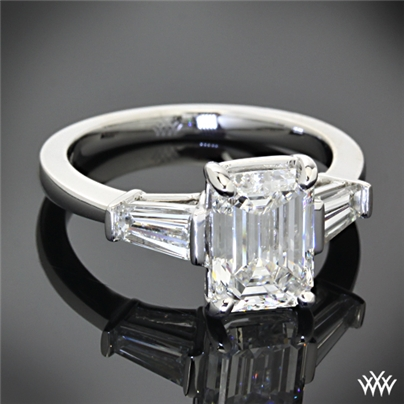 custom emerald and baguette engagement ring 27501