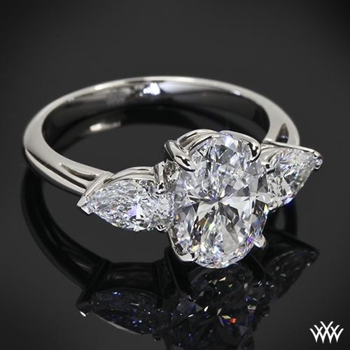 Custom Oval And Pear 3 Stone Engagement Ring 14603