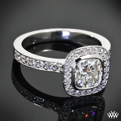 Custom Square Halo Diamond Engagement Ring 23301