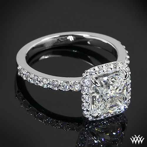 Custom Square Halo Diamond Engagement Ring