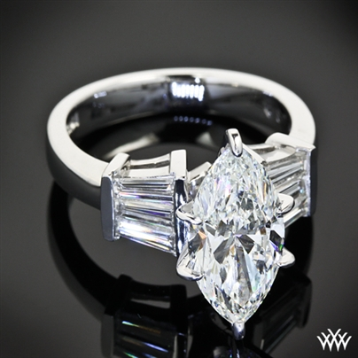 Marquise And Baguette Diamond Engagement Ring 24301