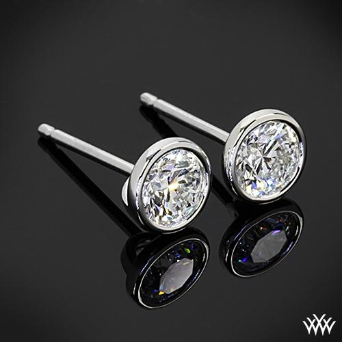 Handmade Full Bezel Diamond Earrings With Two 0 50ct A Cut Above Diamonds