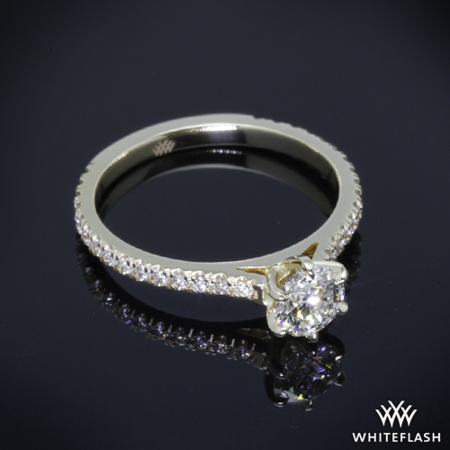 5d256c921 Solitaire Rings. 0.628ct I VS2 A CUT ABOVE Round Diamond set in 6 Prong Cathedral  Three Quarter French Set Eternity Dia.