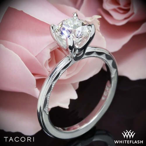 Tacori 40-15RD Sculpted Crescent Millgrain Solitaire Engagement Ring
