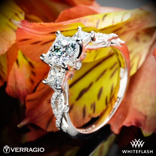 Verragio INS-7055P Twisted Shank Princess 3 Stone Engagement Ring