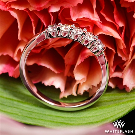 Five Stone Shared-Prong Diamond Wedding Ring