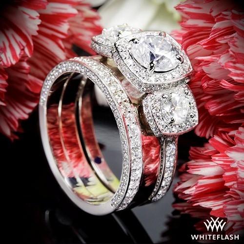 f019929db Custom Three Stone Halo Diamond Engagement Ring with 3 Side Pave Wedding  Rings