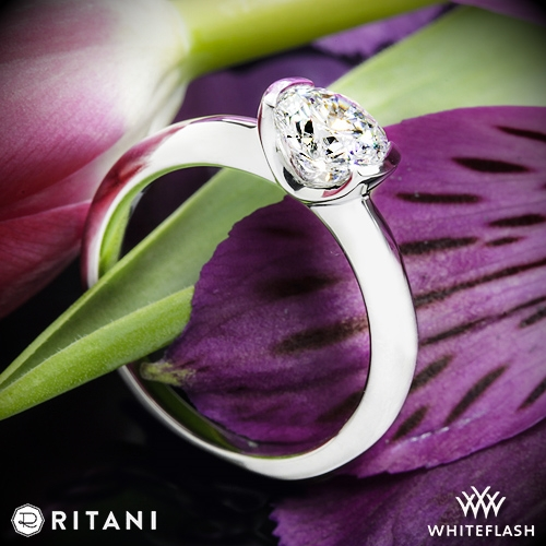 Ritani 1RZ1065 Semi Bezel-Set Solitaire Engagement Ring