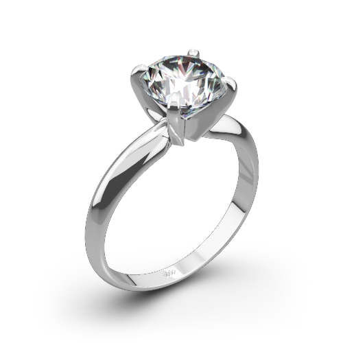 Heavy 4 Prong Solitaire Engagement Ring