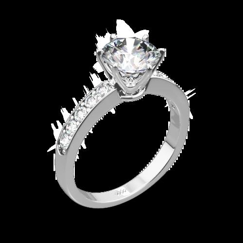 Bead-Set Diamond Engagement Ring