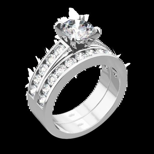 Cathedral Channel-Set Diamond Wedding Set