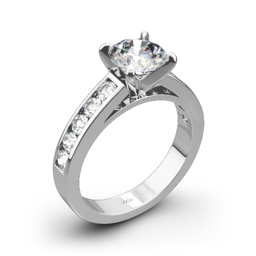 Cathedral Channel-Set Diamond Engagement Ring