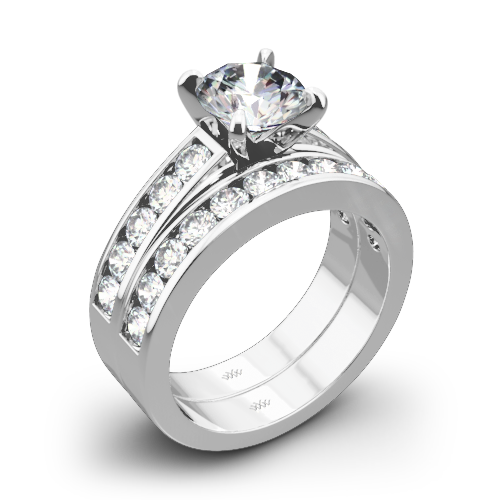 Cathedral Channel-Set Diamond Wedding Set