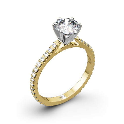 Cathedral French-Set Diamond Engagement Ring