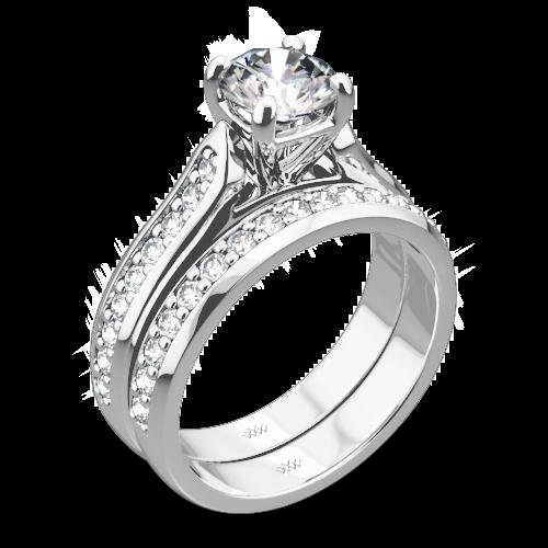 Cathedral Pave Diamond Wedding Set