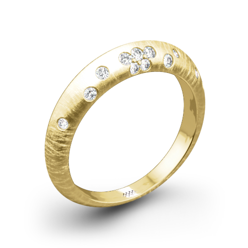 Champagne Reflections Knife-Edge Diamond Wedding Ring