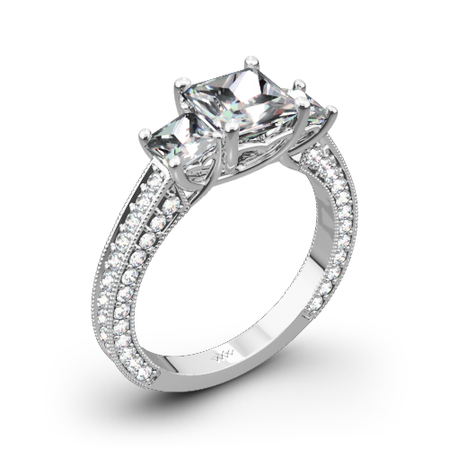 Coeur de Clara Ashley Three Stone Engagement Ring for Princess