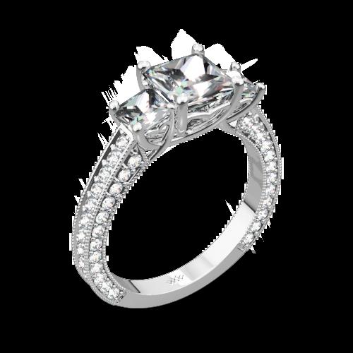 Coeur de Clara Ashley Three Stone Engagement Ring for Princess