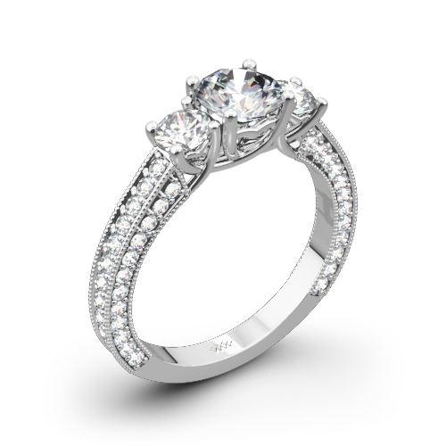 coeur de clara ashley three stone engagement ring - 3 Stone Wedding Rings