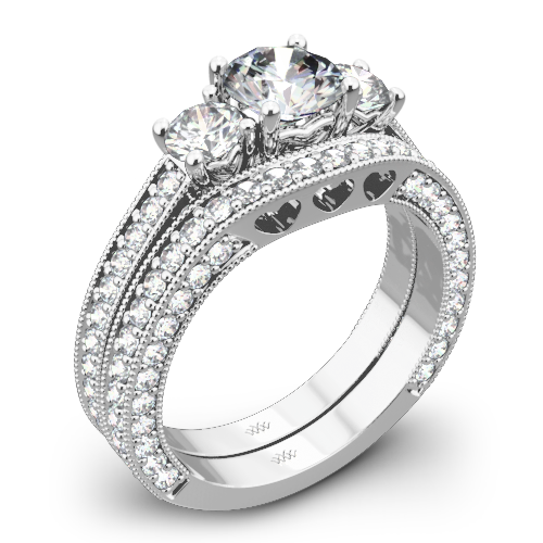3 Stone Coeur de Clara Ashley Diamond Wedding Set 1508