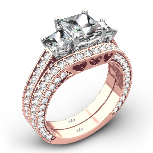 Coeur de Clara Ashley Three Stone Wedding Set for Princess