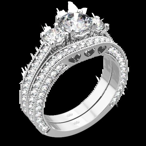 Coeur de Clara Ashley Three Stone Wedding Set
