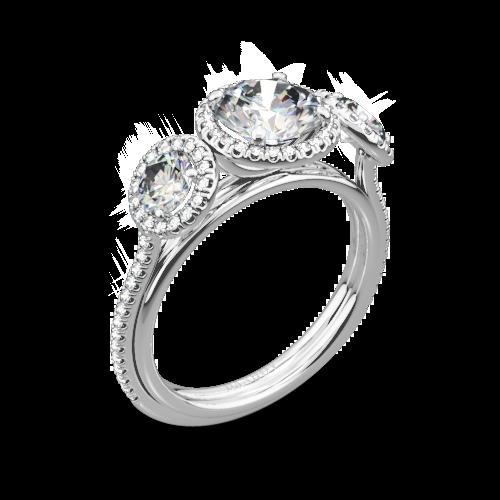 Danhov LE101 Per Lei Three Stone Halo Engagement Ring
